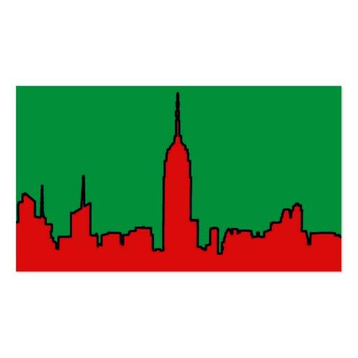NYC Skyline: ESB Christmas Silhouette Business Card Template