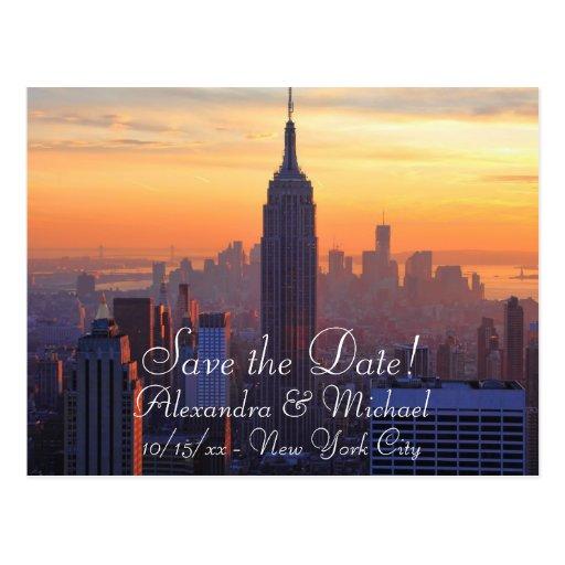 NYC Skyline: ESB Orange Sunset Save the Date Postcards