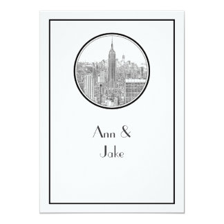 NYC Skyline ESB Round Etched 01 Wedding Invite