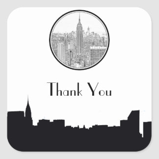 NYC Skyline ESB Round Etched 01S Favor Tag #2 Square Sticker