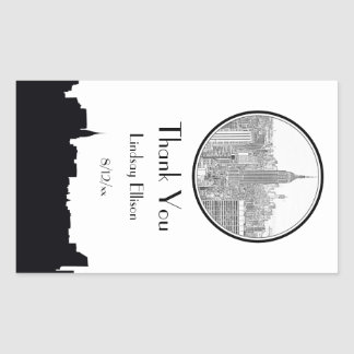 NYC Skyline ESB Round Etched 01S Favor Tag Rectangular Sticker