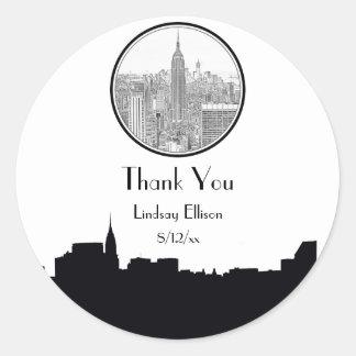NYC Skyline ESB Round Etched 01S Favor Tag Round Sticker