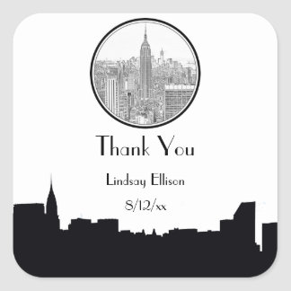 NYC Skyline ESB Round Etched 01S Favor Tag Square Sticker