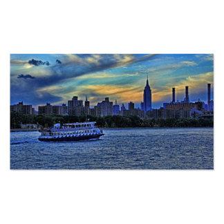 NYC Skyline ESB Smokestacks Boat Twilight Sky Business Card Template