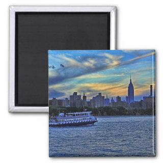 NYC Skyline: ESB, Smokestacks & Boat, Twilight Sky Fridge Magnet