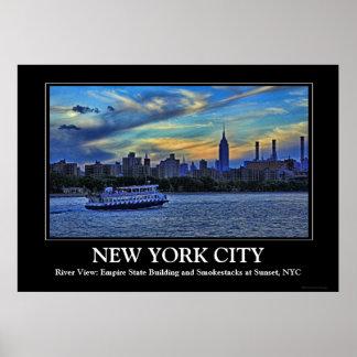 NYC Skyline: ESB, Smokestacks & Boat, Twilight Sky Poster