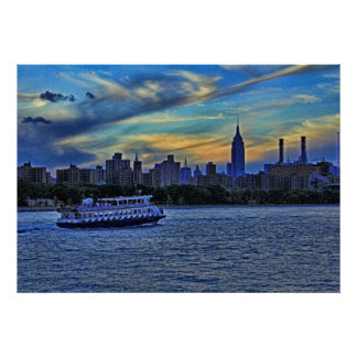 NYC Skyline: ESB, Smokestacks & Boat, Twilight Sky Posters