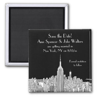NYC Skyline ESB Top of the Rock Save the Date Blk Square Magnet
