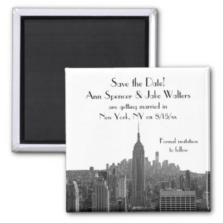 NYC Skyline ESB Top of the Rock Save the Date Square Magnet