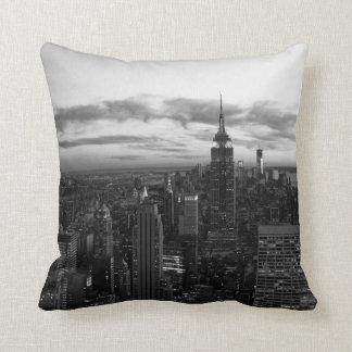 NYC Skyline, ESB WTC at Sunset BW Cushion