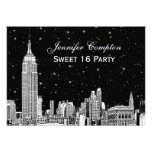 NYC Skyline Etch Starry DIY BG Color SQ Sweet 16 H Invites