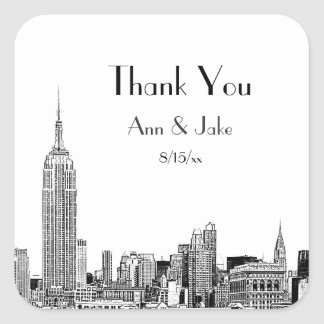 NYC Skyline Etched 01  Favor Tag Thank You Square Sticker