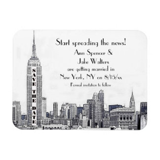 NYC Skyline Etched 01 Save the Date Rectangular Photo Magnet