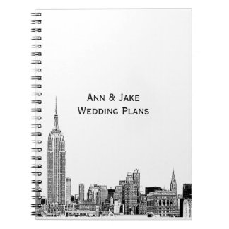 NYC Skyline Etched 01 Spiral Notebook
