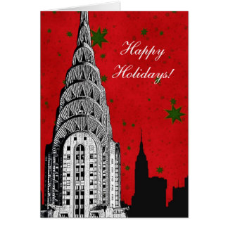 NYC Skyline Etched Chrysler Bldg Christmas Holiday Card