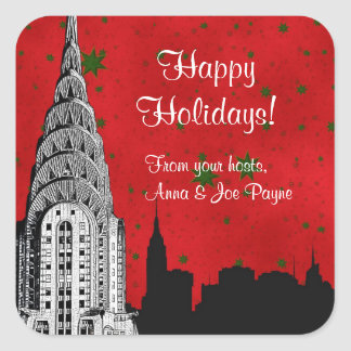 NYC Skyline Etched Chrysler Christmas Holiday Tag Stickers