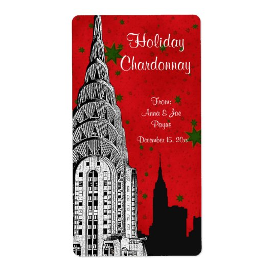NYC Skyline Etched Chrysler Christmas Holiday Wine
