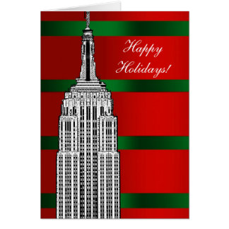 NYC Skyline Etched Empire State Bldg Christmas 2 Greeting Card