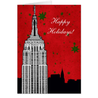 NYC Skyline Etched ESB 2 Christmas Holiday Greeting Card