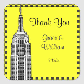 NYC Skyline Etched ESB Checker Favor Tag Thank You Square Stickers