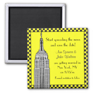 NYC Skyline Etched ESB Checkerd Taxi Save the Date Square Magnet