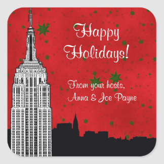 NYC Skyline Etched ESB Christmas Holiday Favor Tag Square Sticker