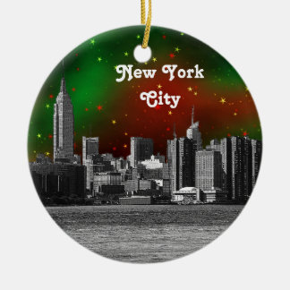NYC Skyline Etched ESB Red and Green Starry Xmas Round Ceramic Decoration