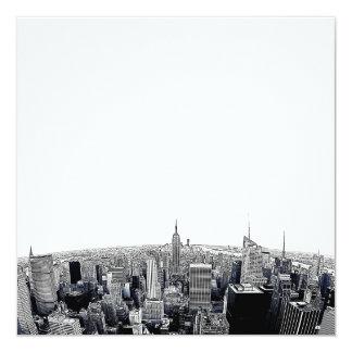 NYC Skyline Etched Fisheye View 13 Cm X 13 Cm Square Invitation Card