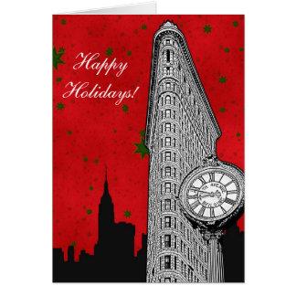 NYC Skyline Etched Flatiron 2 Christmas Holiday Greeting Card