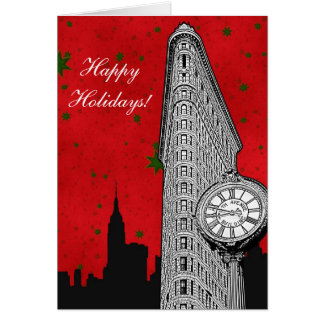 NYC Skyline Etched Flatiron 2 Christmas Holiday Greeting Card