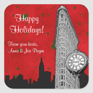 NYC Skyline Etched Flatiron Christmas Holiday Tag Square Sticker