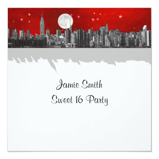 NYC Skyline Etched Look Moon Red 2 Sweet 16 SQ 13 Cm X 13 Cm Square Invitation Card