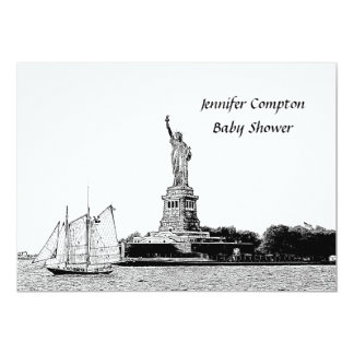 """NYC Skyline Etched St of Liberty Baby Shower 5"""" X 7"""" Invitation Card"""