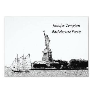 "NYC Skyline Etched St of Liberty Bachelorette Pty 5"" X 7"" Invitation Card"