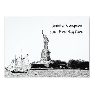 NYC Skyline Etched St of Liberty Birthday Party 13 Cm X 18 Cm Invitation Card