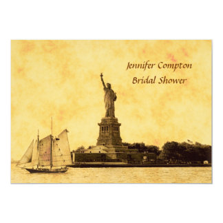 NYC Skyline Etched St of Liberty Bridal Shower #2 Personalized Invite