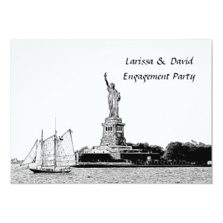 NYC Skyline Etched St of Liberty Engagement Party 13 Cm X 18 Cm Invitation Card