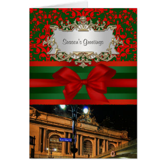 NYC Skyline Grand Central Facade Xmas #3B Greeting Card