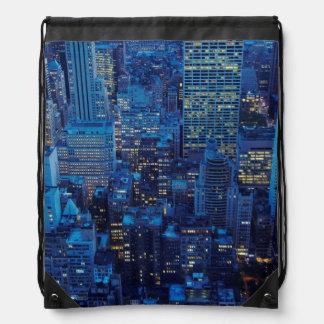 NYC Skyline, high angle view at dusk Backpacks