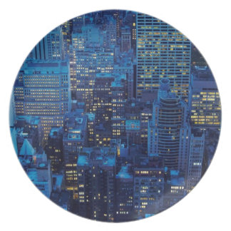 NYC Skyline, high angle view at dusk Plate