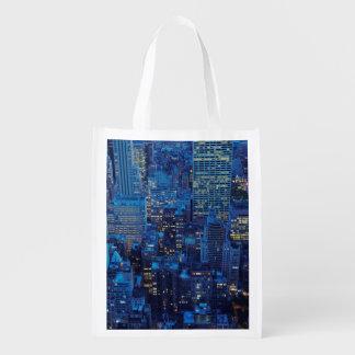 NYC Skyline, high angle view at dusk Reusable Grocery Bag