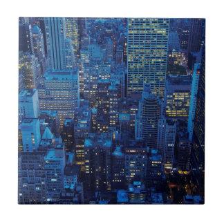 NYC Skyline, high angle view at dusk Tile