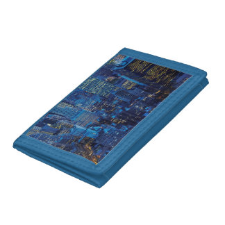 NYC Skyline, high angle view at dusk Trifold Wallets
