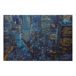 NYC Skyline, high angle view at dusk Wood Wall Art