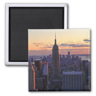 NYC Skyline just before sunset Square Magnet