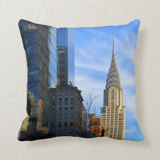 NYC Skyline: Midtown View of the Chrysler Building Throw Cushions