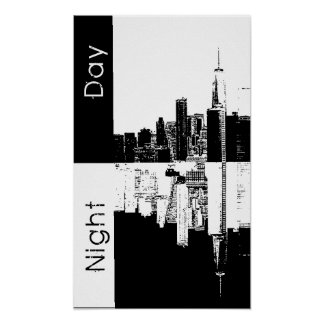 NYC skyline old vintage photo black and white Poster