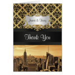 NYC Skyline Sepia B5 Blk Rib Damask Thank You Greeting Cards