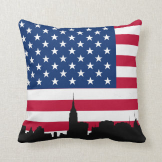 NYC Skyline Silhouette, American Flag Cushion