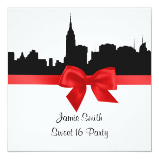 NYC Skyline Silhouette BW Red Sweet 16 SQ 13 Cm X 13 Cm Square Invitation Card